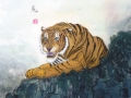 Tiger on Silk by Malcolm Gowlett